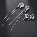 925 Silver Pin Tassel Earrings Stud Earrings Korean Elegant Girl's Heart Ear Stud AAA Zircon Long Ear Pendant Qxwe0580