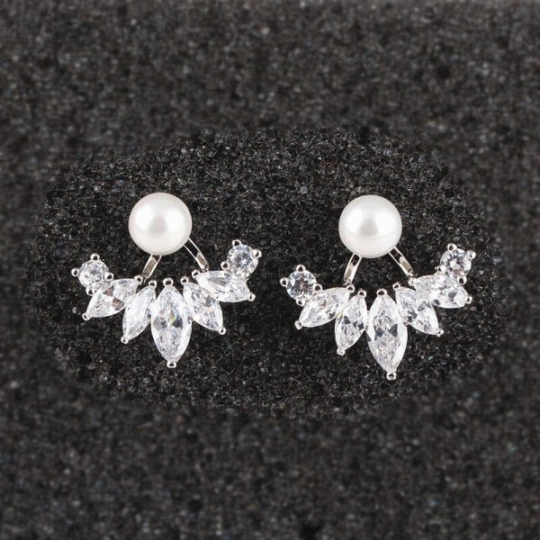 Creative Zircon Pearl Stud Earrings 925 Sterling Silver Pin Back Hanging Two Korean-Style Pearl Earrings Qxwe718