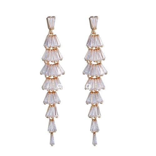 Long Tassel AAA Zircon Inlaid Earrings Korean-Style Luxury Dinner Fashion Ear Stud Earrings Qxwe824