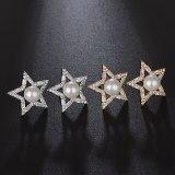 Big Star Pearl Stud Earrings Shiny AAA Zircon Earrings Korean Fashion Cool Earrings Jewelry Qxwe935