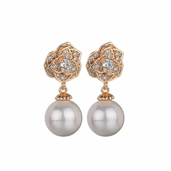 Rose Sterling Silver Stud Earrings Copper Inlaid AAA Zircon Pearl Earrings Korean-Style Gold-Plated Earrings Qxwe861