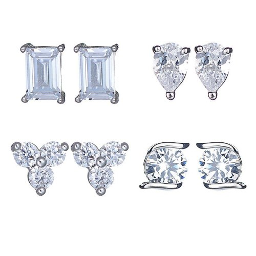 Stud Earrings AAA Zircon Inlaid with Platinum All-Matching Fresh Earrings Jewelry Qxwe7