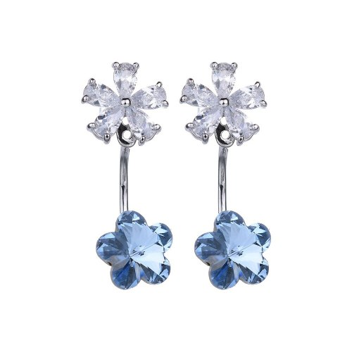 925 Sterling Silver Needle Plum Crystal Zircon Earrings Back-Hanging Ear Stud Korean Fashion Jewelry Wholesale Qxwe717