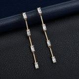 Korean Fashion Zircon Long Tassel Earrings Geometric Inlaid Earrings S925 Sterling Silver Stud Earrings Qxwe1295