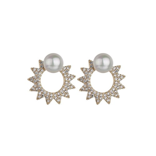 Cat Pearl Stud Earrings Fashion Trendy AAA Zircon Elegant Full Diamond Double Wear 925 Silver Needle Earrings Qxwe1257