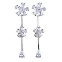 Flower Tassel Long Earrings Fashion AAA Zircon Copper Inlaid Stud Earrings 925 Sterling Silver Ear Pin Qxwe1114