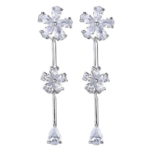 Flower Tassel Long Earrings Fashion AAA Zircon Copper Inlaid Stud Earrings 925 Sterling Silver Ear Pin Qxwe1114