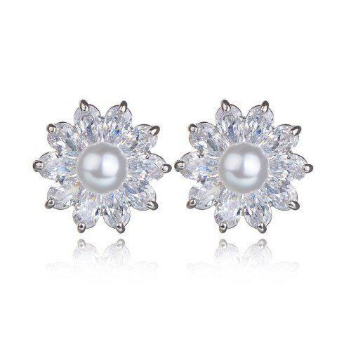 AAA Drop Zircon Pearl Inlaid Stud Earrings Japanese and Korean-Style Earrings Jewelry Qxwe920