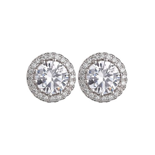 Stud Earrings AAA Zircon Copper Micro Pave Cutout All-match Stud Earrings Classic Vintage Round Earrings Qxwe1116