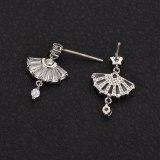 Korean-Style Small Fan-Shaped Stud Earrings AAA Zircon Inlaid 925 Sterling Silver Ear Pin Simple Student Earrings Qxwe960