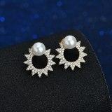 Cat Pearl Stud Earrings Fashion Trendy AAA Zircon Elegant Full Diamond Double Wear 925 Silver Needle Earrings Qxwe1257