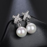 Korean-Style Beaded Earrings AAA Zircon Inlaid Stud Earrings Fashion Simple All-match Earrings Jewelry Qxwe223