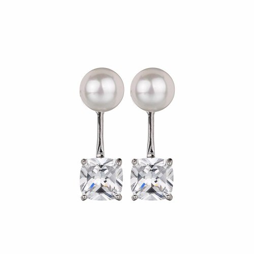 Pearl Sterling Silver Ear Pin Earrings Copper Inlaid Zircon Ear Pendant Earrings Korean Fashion Simple Earrings Qxwe749