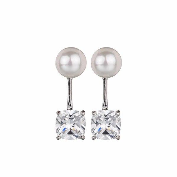 Pearl Sterling Silver Ear Pin Earrings Copper Inlaid Zircon Ear Pendant Earrings Korean Fashion Simple Earrings Qxwe749