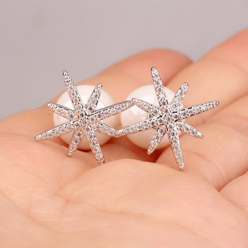 Stud Earrings Cool Trendy Temperament Stars Earrings Sexy All-match Pendant Exaggerated Big Pearl Earrings Qxwe895