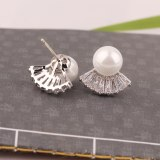 925 Sterling Silver Pin Japanese and Korean Pearl Stud Earrings Elegant Fan-Shaped Inlaid Zircon Earrings Girls Earrings Qxwe998