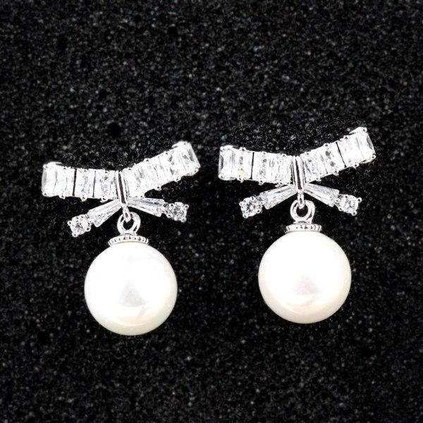 Pearl Stud Earrings Bow AAA Zircon Inlaid S925 Sterling Silver Needle Pearl Earrings Qxwe847