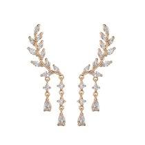AAA Zircon Earrings 925 Silver Pin Jewelry Leaves Ear Stud Drop Ear Pendant Earrings Qxwe691