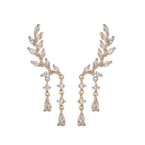 AAA Zircon Earrings 925 Silver Pin Jewelry Leaves Ear Stud Drop Ear Pendant Earrings Qxwe691