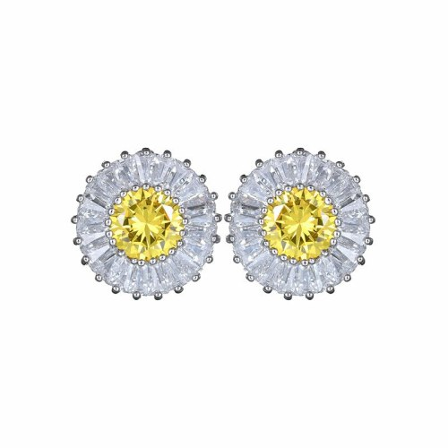 Copper Inlaid Zircon Daisy Stud Earrings Korean Fashion Simulation Jewelry Platinum-Plated All-match Earrings Wholesale Qxwe738
