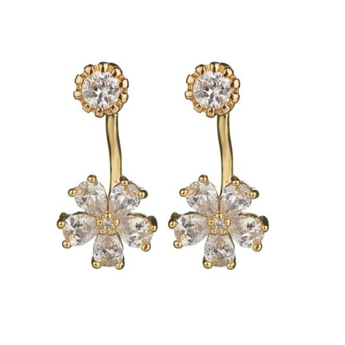 Rear Hanging Double Wear Stud Earrings 925 Silver Needle Korean Cute Sweet Earrings Female Shiny Zircon Inlaid Flower Qxwe899