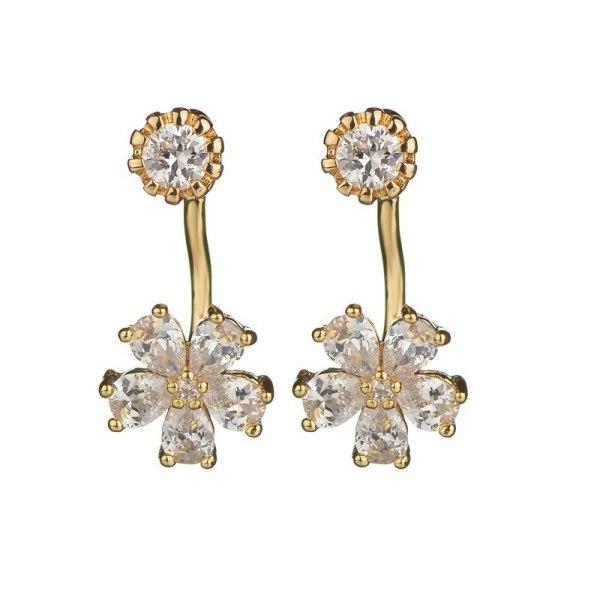 Rear Hanging Double Wear Stud Earrings 925 Silver Needle Korean Cute Sweet Earrings Female Shiny Zircon Inlaid Flower Qxwe899