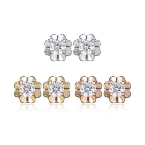 Four-Leaf Small Petals Small Stud Earrings AAA Zircon Inlaid Earrings Simple and Versatile Jewelry Qxwe626