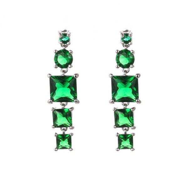Creative Earrings Geometric Crystal Zircon Ear Pendant 925 Sterling Silver Ear Pin Korean Fashion Female Stud Earrings Qxwe821