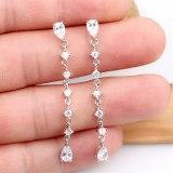 Creative Korean-Style Tassel Earrings 925 Sterling Silver Needle Ear Stud Copper Inlaid AAA Zircon Ear Stud Qxwe808