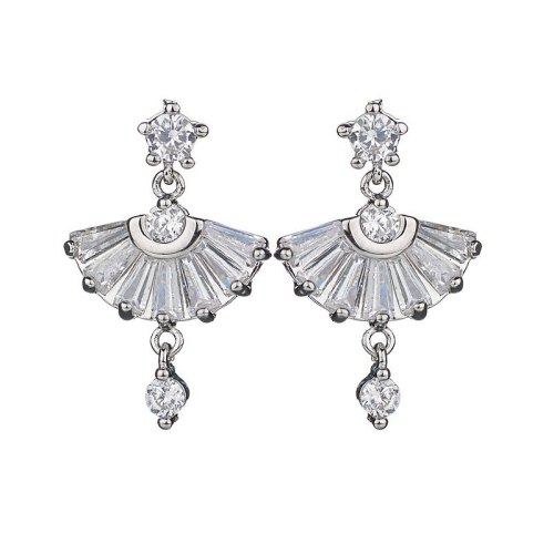 Korean-Style Small Fan-Shaped Stud Earrings AAA Zircon Inlaid 925 Sterling Silver Ear Pin Simple Student Earrings Qxwe960