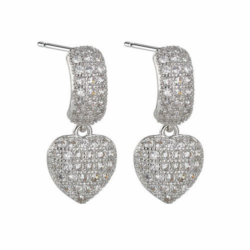Fashion Earrings New Sweet Elegant Simple Micro Pave Zircon Heart Earrings Jewelry Qxwe1522