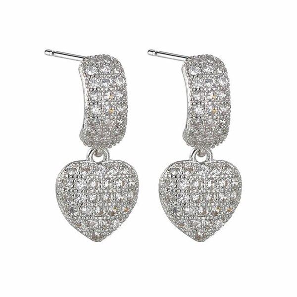 Fashion Earrings New Sweet Elegant Simple Micro Pave Zircon Heart Earrings Jewelry Qxwe1522