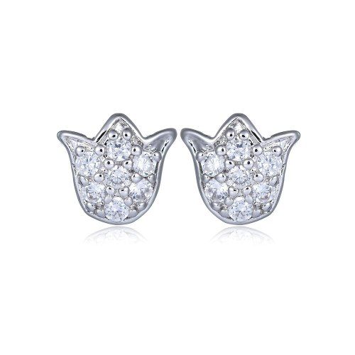 Bow Stud Earrings Copper Inlaid High Quality AAA Zircon Stud Earrings Korean Style Simple Fashion Earrings Qxwe060