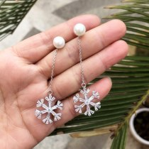 Big Snowflake Beaded Earrings Fashion Jewelry AAA Zircon Inlaid Ear Stud Plated Platinum Qxwe1091