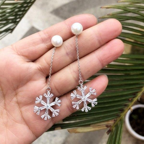Big Snowflake Beaded Earrings Fashion Jewelry AAA Zircon Inlaid Ear Stud Plated Platinum Qxwe1091