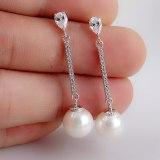 Korean-Style Trendy Pearl S925 Sterling Silver Needle Earrings Long Elegant High-End Fashion Ear Stud Pearl Ear Pendant Qxwe720