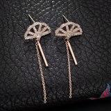 European Fashion Elegant Fan-Shaped Pearl Stud Earrings Female 925 Sterling Silver Needle Inlaid Zircon Earrings  Qxwe1270