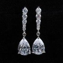 Water Drop Long Earrings AAA Zircon 925 Silver Ear Pin Retro Beautiful Fashion Jewelry Qxwe687