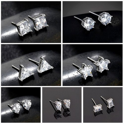 Stud Earrings Round Square Love Heart Triangle Five-Star Rectangular Drop AAA Zircon Earrings Gold Plated Qx368425