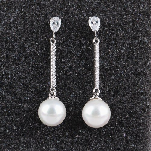 Korean-Style Trendy Pearl S925 Sterling Silver Needle Earrings Long Elegant High-End Fashion Ear Stud Pearl Ear Pendant Qxwe720