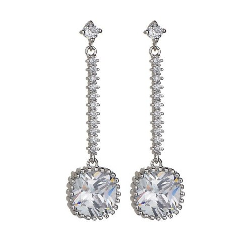 Korean Style Geometric Exaggerated Long Earrings AAA Zircon Earrings Sterling Silver Stud Earrings Qxwe925
