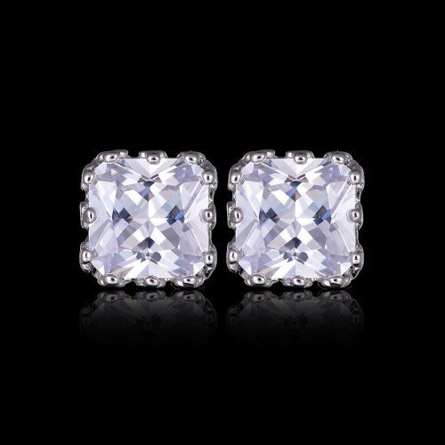 Zircon Earrings Square Crown Stud Earrings Fashion Simple All-match Earrings Qxwe399
