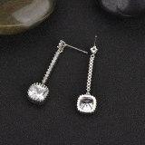 Korean Style Geometric Exaggerated Long Earrings AAA Zircon Earrings Sterling Silver Stud Earrings Qxwe925