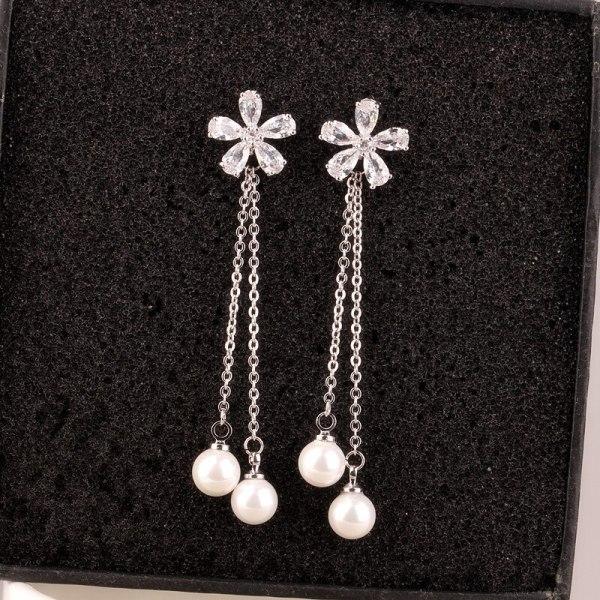 Five Petals Sterling Silver Ear Pin Korean Elegant Female Long Cool All-match Pearl Earrings Ear Pendant Qxwe672
