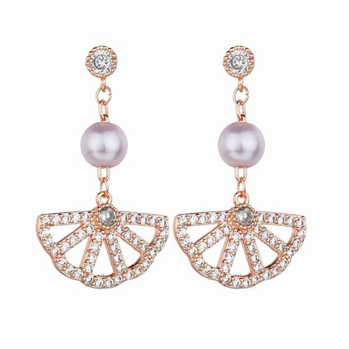 European Fashion Elegant Fan-Shaped Pearl Stud Earrings Female 925 Sterling Silver Needle Inlaid Zircon Earrings  Qxwe1270