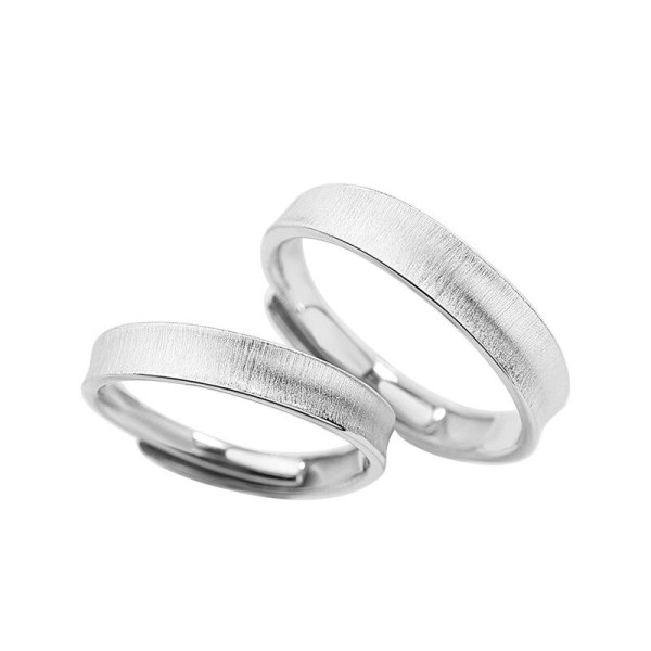 S925 Silver Smooth Brushed Couple Ring Female Japanese and Korean Simple Popular Hand Jewelry Valentine's Day Gift Mlk746