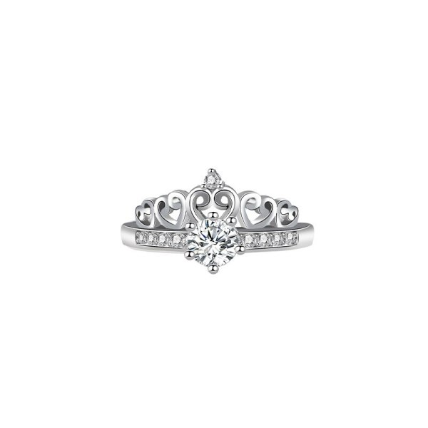 S925 Sterling Silver Crown Zircon 2-in-1 Ring Female Japanese and Korean Popular Hand Ornament Ins Wind Hot Selling Mlk884