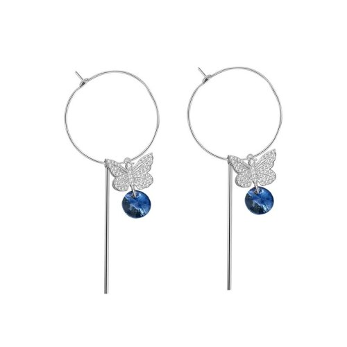 S925 Sterling Silver Diamond Set Blue Crystal Butterfly Earrings Female Korean Simple Stud Earrings  Mle1870