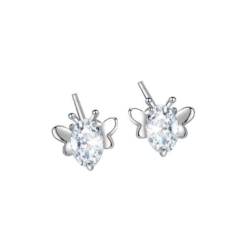 S925 Sterling Silver Simple Design Zircon Butterfly Stud Earrings Korean Dongdaemun Popular Earrings  Mle1932
