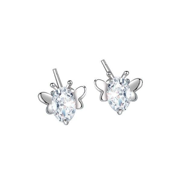S925 Sterling Silver Simple Design Zircon Butterfly Stud Earrings Korean Dongdaemun Popular Earrings  Mle1932
